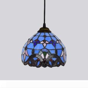 Tiffany Pendent Lamp Mediterraneo azzurro creativo barocco Amore Decorative Pendent luce macchiato lampada di vetro per soggiorno
