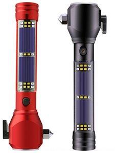 Esterna solare di sicurezza auto martello lampo di emergenza incendio multi-funzione di T6 forte luce lavoro torcia LED