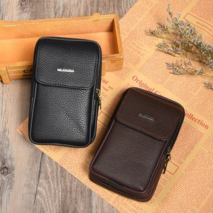 2019 New outdoor casual men's leather small waist belt multi-functional fashion running Phone running bag mobile phone bag