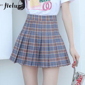 2020 College Sweet Girls Plaid All-match Bottom S-XL High Waist Slim A-line Mini Skirt Pink Khaki Red Kpop Fashion Faldas