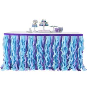 Jupe de table de mariage Tutu Tables Décoration fête de mariage Table Textile Rag Table Jupes rondes Accessoires Nappes Rectangle LJJA1354