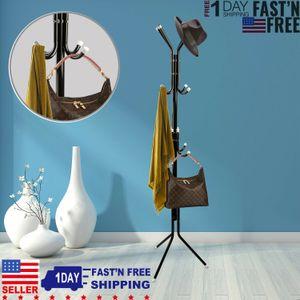 12 Hooks Coat Hat Metal Rack Organizer Hanger Stand Clothes Handbag Scarf Holder