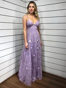 Light Purple Spaghetti Straps Evening Dress V Neck A-line Long Prom Gown robe de soiree Party Dresses Custom Made