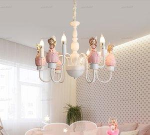 Корейский Люстра Осветительные розовые люстры Princess Room Девочка Мультфильм Детская комната Спальня лампы Гостиная лампы освещения Дети LLFA