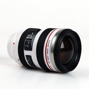 뚜껑 ZZA2453 바다 배송과 카메라 렌즈 커피 잔 창조적 인 6 세대 400ml의 스테인레스 스틸 텀블러 여행 캠핑 커피 컵