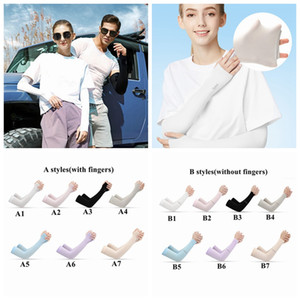 Outdoor Sports Fashion Ice Silk Sleeve Ice Cool Breathing Sunscreen Sleeve Summer Gloves for Men Women Riding Training Arm Warmers CYZ2576-g