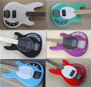 free shipping music m 4 string bass,sting ray bass guitar,white blue red basswood body,rosewood fingerboard,HH pickups,black white pickguard