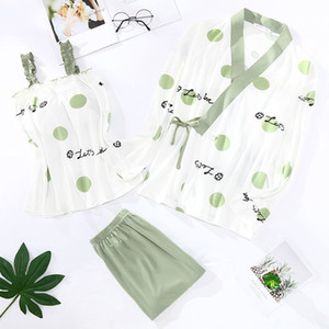 20200804 Pajamas women's spring autumn long sleeve kimono suspender three piece set with chest pad large loose home clothes