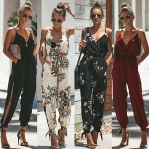 Meihuida 2020 Casual Women's Boho Floral Print Jumpsuit Bodysuit Playsuit Party Loose Casual Trousers