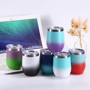 12oz Gradient Egg Shapped Mug e Glasses WinStainless Steel Vacuum Insulated Cups Tumbler Travel Stemless Wine Mugs GGA2736