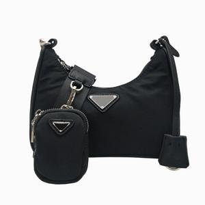 Freie Verschiffen Frauen 2pcs / set Schulterbeutel waterproaf Leinwand Nylon Brusttasche Dame Tote Ketten Handtaschen Presbyopic Purse Messenger Umhängetasche