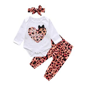 Infant Baby Girls clothing my first Valentine Day Letter print Long sleeve Romper+Fashion Leopard Pant+headband newborn clothes