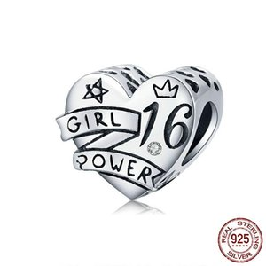 925 Sterling Silver 16 years old Girl Power Heart Charms Beads Fit Original Bracelet Pendant Birthday Gift Jewelry