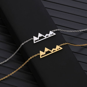 Fashion mountain peaks necklaces geometric landscape character pendant necklaces electroplating silver plated necklaces wholesale for gift