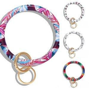 Printing Pattern Bracelet Key Buckles Man Woman Hip Hop Bangles Keys Chains PU Leather Wrap Wristbands Rings 9 5dm L1