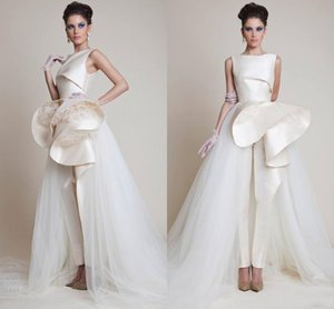 2020 Designer Zuhair Murad Evening Jumpsuits Bateau Neck Peplum Ruffles Formal Prom Party Gowns Jumpsuits Dress Tulle Evening Wear AL6515