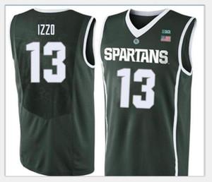 Özel Erkekler Michigan State Spartans Steven Izzo # 13 Yeşil Tam nakış basketbol forması Boyut veya özel herhangi bir ad veya numara formayı-5XL S