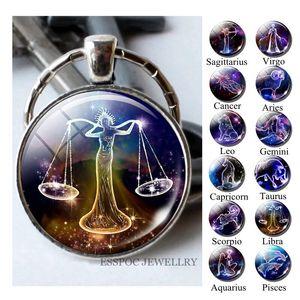 12 constelações Keychain Constelação Key Rings Zodiac Chaveiro Pingente Jóias Libra Áries Leo presente de aniversário Moda Sinal