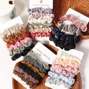 Женщина Scrunchie Hairbands волос Tie женщины для волос аксессуаров атласной Scrunchies Stretch Ponytail Держатели подарок Heandband M2366