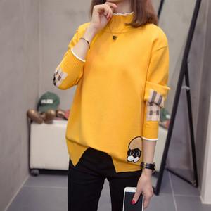 DONAMOL tamaño ocasional más estilo del cuello alto de las mujeres suéteres de otoño invierno de Corea del patrón del perrito Tops manga larga con capucha sueltos