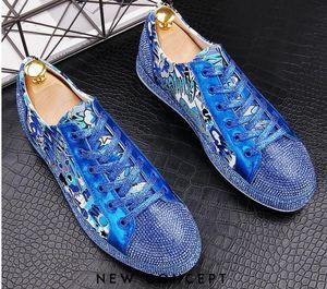 2020 Qualitäts-Art- und Männer Strass Gold-Silber-Blau Mischfarbe kausalen Schuhe Männer Faulenzer Fahr Boden Gummi Anti-Rutsch für Männer 38-43