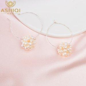 ASHIQI reale 925 Sterlingsilber-Band-Ohrringe natürliche Frischwasserperlen Modeschmuck für Frauen 2020 New