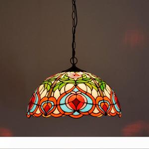 Stained Glass Flowers European Tiffany Chandelier Restaurant Bar Vintage Nostalgic Lighting Coffee Shop Creative Pendant Lamps