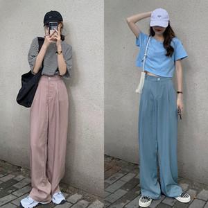 2020 Snordic Mulheres Outono de cintura alta perna larga calças compridas drapejar Liso Calças Suit solto Midi com o botão