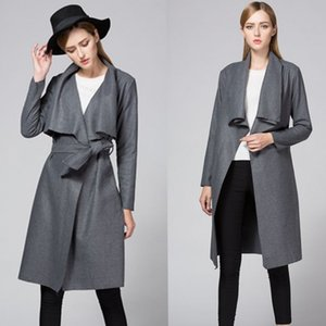 Women's Trench Coat Wool Cardigan Coat Fashion Casual Autumn Winter Overcoat Lapel Blend Lady Outerwear