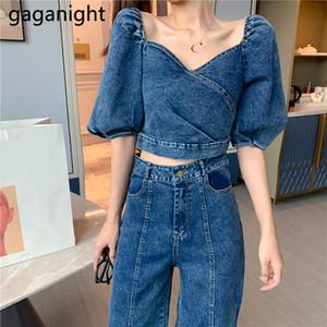Gaganight Fashion Denim Suits Women Puff Sleeve Back Zipper Short Tops High Waist Loose Wide Leg Long Pants Casual 2 Piece Set T200716