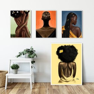 Modern African Sexy Woman Portrait Oil Painting Wall Art Canvas Cuadros Poster Prints Scandinavian Wall Picture for Living Room Home Decor