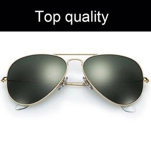 Aviación Rayos clásicos de diseño lentes de las gafas de sol Hombres Mujeres Hombres Mujeres Piloto de vidrio Gafas de sol Gafas de sol Des con los accesorios