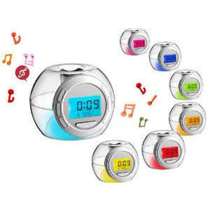 7 Colores LED Digital Natural Sound Alarm Clock calendario perpetuo Transparent Clock Snooze timer Table Desk Clocks Home Décor HA1076