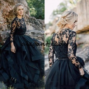 2020 Black Wedding Dresses A Line Jewel Long Sleeve Sweep Train Bridal Gowns With Tiered Skirts Lace Applique Wedding Gowns For Beach Garden