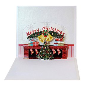 3D drucken Weihnachten Kamin Handgemachte Neujahrsfeiertag Grußkarten Frohe Weihnachten Pop Up Card Festliche Partei liefert