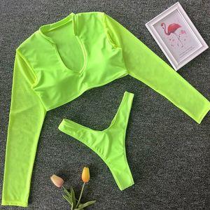 Malha manga comprida Thong Bikini 2020 Mulheres Swimsuit brasileira Swimwear Feminino Bikini Set alta Leg Cut balneares desgaste maiô