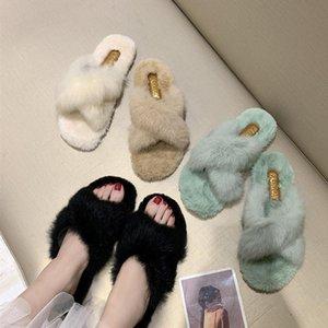 CINESSD Chaussure Femme Pellicce pantofole delle donne piane dell'interno della donna dei pattini dei pistoni 2020 Scarpe Fur diapositive per le donne pistone caldo femminile