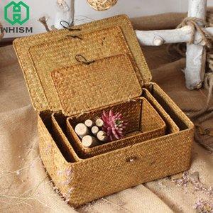 WHISM mano tessuto contenitore con coperchio di immagazzinaggio del rattan carrello Jewelry Box contenitore di alimento trucco dell'organizzatore giocattoli Deposito Scatole CX200716