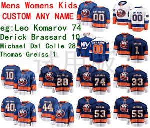 Islanders de New York Jersey Leo Komarov Derick Brassard Michael Dal Colle Thomas Greiss Hamonic Hommes Bleu Blanc Hockey Maillots personnalisés Cousu