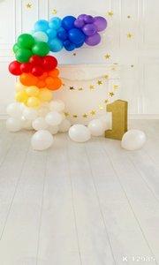 Joyeux anniversaire Ballon Décorations Tissu vinyle Fond photographique pour Studio bébé Enfants Birthday Party Backdrop Studio