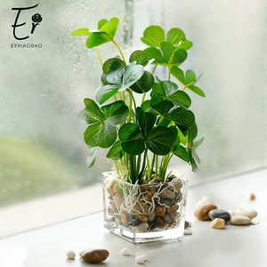 Erxiaobao Fake Grass Simulation Bonsai Potted Artificial Plants Leaf with Glass Pot Green Peperomia Clover Home Decoration T200624