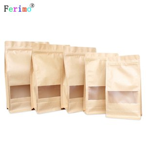 50pcs Sanding eight side sealing window the paper bag and paper bag food self-supporting bag