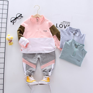 Baby girl clothing suit cotton sportswear pants + tops 2 pieces of clothing children sportswear boy clothes color stitching