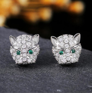 Choucong Brand New Luxury Jewelry 925 Sterling Silver Pave White Sapphire CZ Diamond Gemstones Party Leopard Earring Women Stud Earring Gift