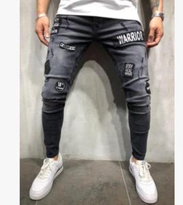 Мужские узкие джинсы повседневные тонкие байкер джинсы джинсовые коленные отверстия Hiphop разорванные брюки промывают высокое качество моды DZW9
