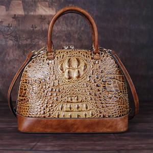 Крокодил шаблон из натуральной кожи сумки женщин высокого качества Женского Vintage Посланник плечо Crossbody сумка Tote Shell сумка