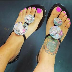 Estate di lusso Scarpe Donna Sandali Big Strass gelatina Torna della fibbia piatto Heel Moda Scarpe Casual Ladies beach femminile