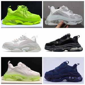 Париж 17FW Тройной S Кроссовки мужские Женщины Повседневная обувь Прозрачный кристалл дно Tripler Clear Подошва Белый Зеленый Черный Открытый спорт папа обуви