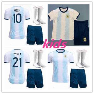 عدة أطفال 2019 كوبا أمريكا الأرجنتين الرئيسية لكرة القدم جيرسي 19 20 Camisetas دي فوتبول MESSI DYBALA هيجوين ICARDI قميص كرة القدم موحدة