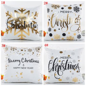 Happy merry Christmas Cushion Cover Gold Printed Pillow Cover Decorative Pillow Cases Sofa Pillowcase Soft gold home decor 45*45cm FFA3201